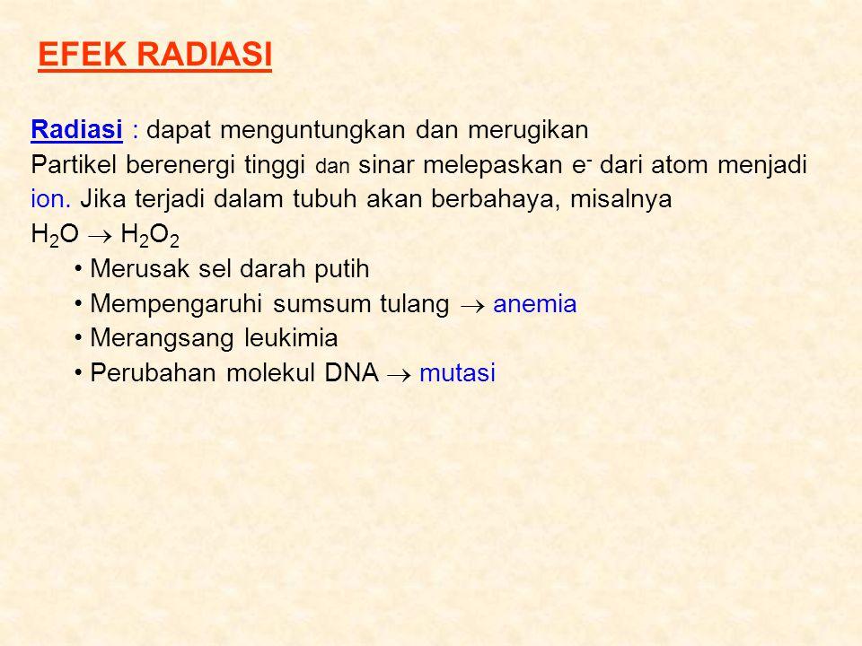 EFEK RADIASI Radiasi : dapat menguntungkan dan merugikan