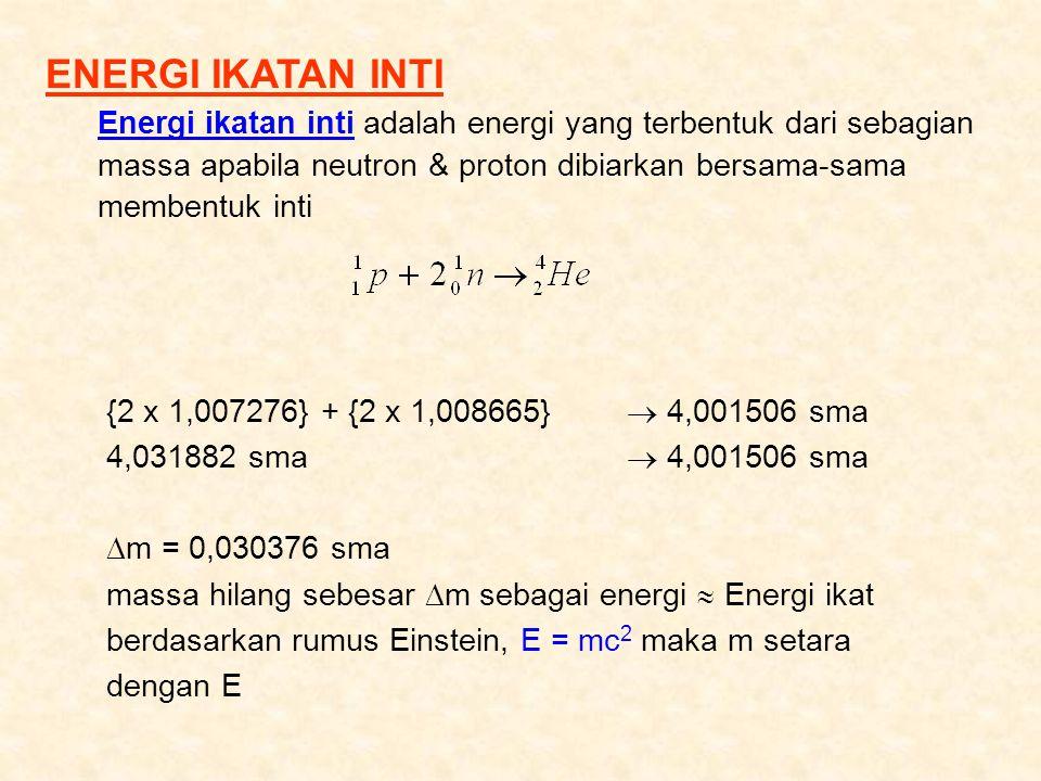 ENERGI IKATAN INTI Energi ikatan inti adalah energi yang terbentuk dari sebagian massa apabila neutron & proton dibiarkan bersama-sama membentuk inti.