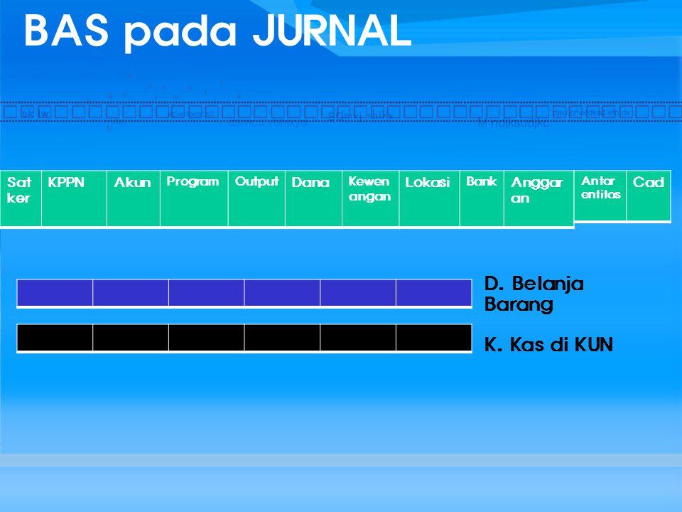 BAS pada JURNAL D. Belanja Barang K. Kas di KUN Satker KPPN Akun Dana