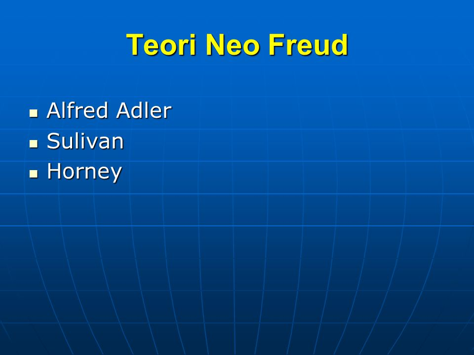 Teori Neo Freud Alfred Adler Sulivan Horney