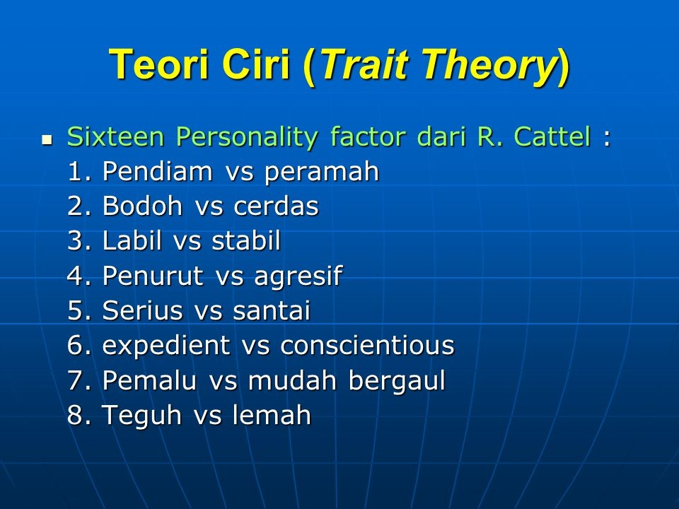 Teori Ciri (Trait Theory)