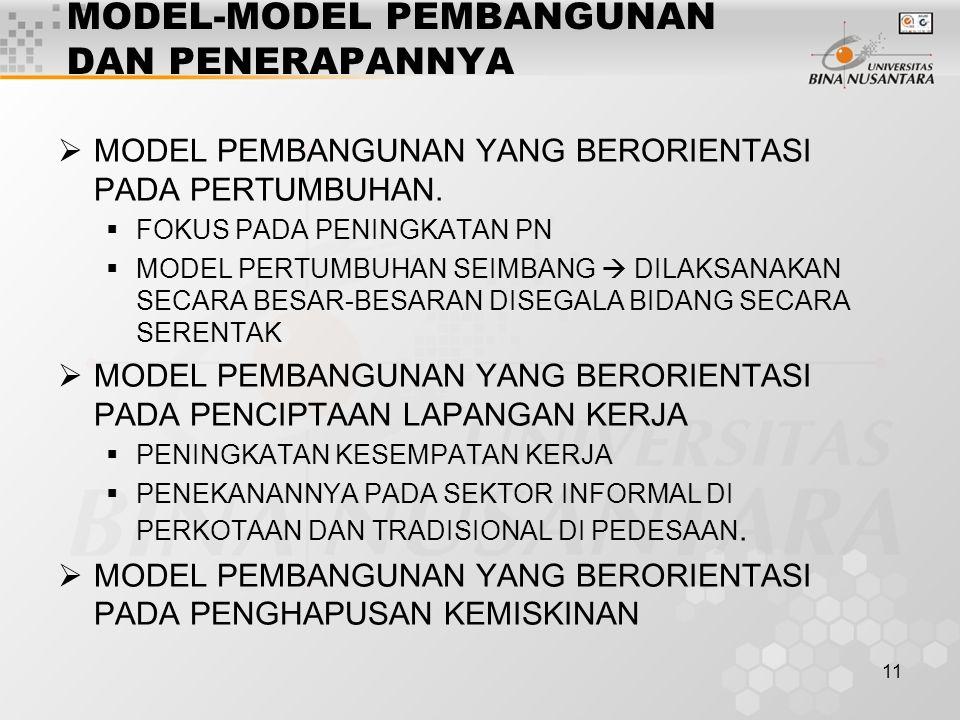 MODEL-MODEL PEMBANGUNAN DAN PENERAPANNYA