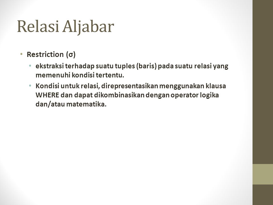Relasi Aljabar Restriction (σ)
