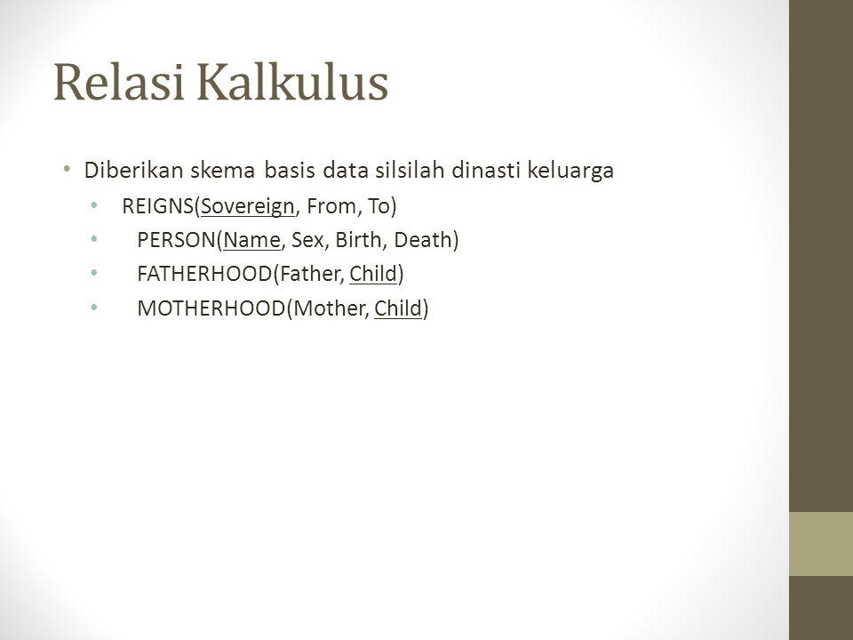 Relasi Kalkulus Diberikan skema basis data silsilah dinasti keluarga