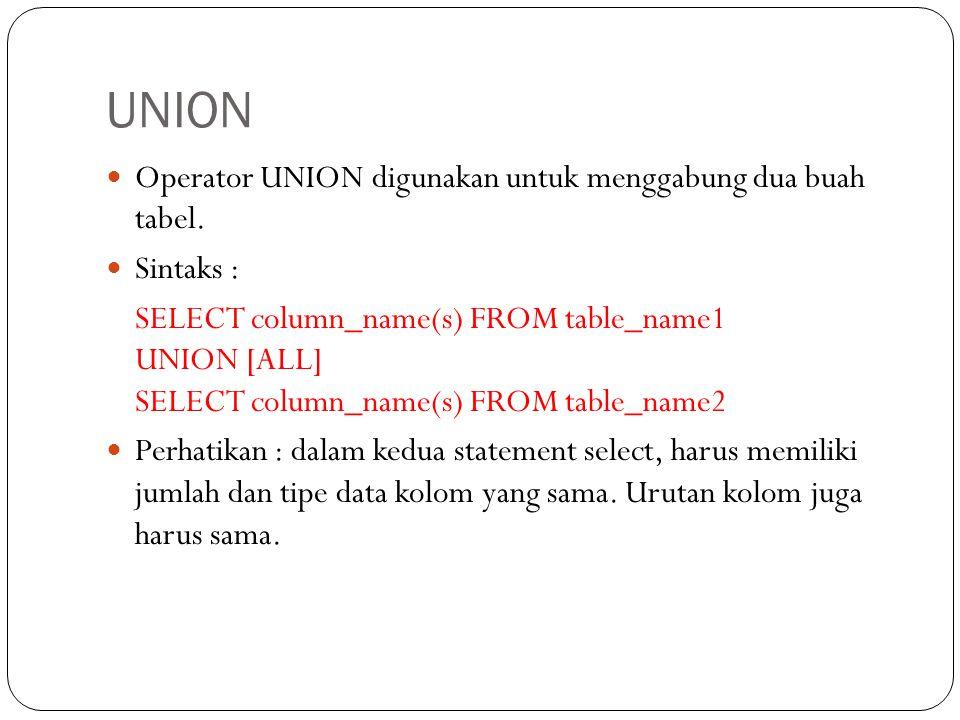 UNION Operator UNION digunakan untuk menggabung dua buah tabel.