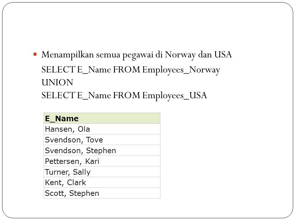 Menampilkan semua pegawai di Norway dan USA