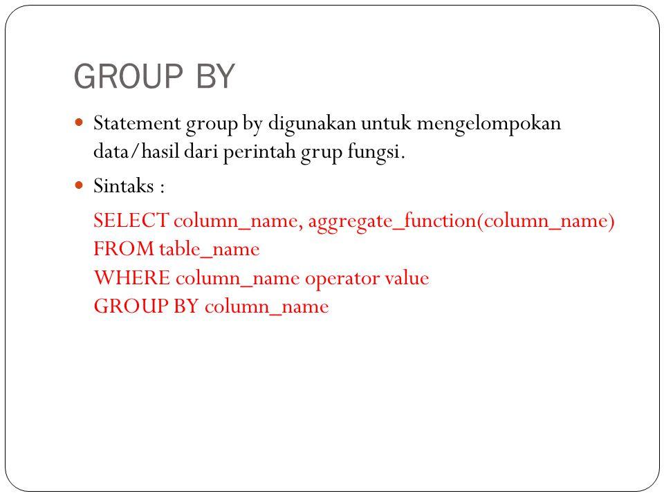 GROUP BY Statement group by digunakan untuk mengelompokan data/hasil dari perintah grup fungsi. Sintaks :