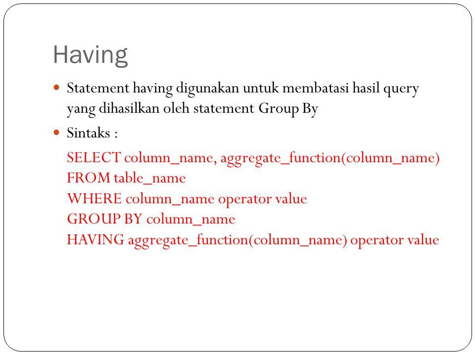 Having Statement having digunakan untuk membatasi hasil query yang dihasilkan oleh statement Group By.