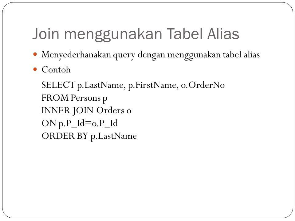 Join menggunakan Tabel Alias