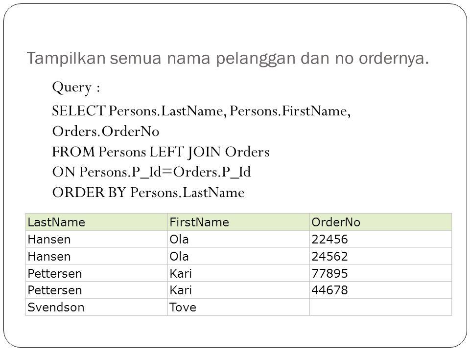 Tampilkan semua nama pelanggan dan no ordernya.