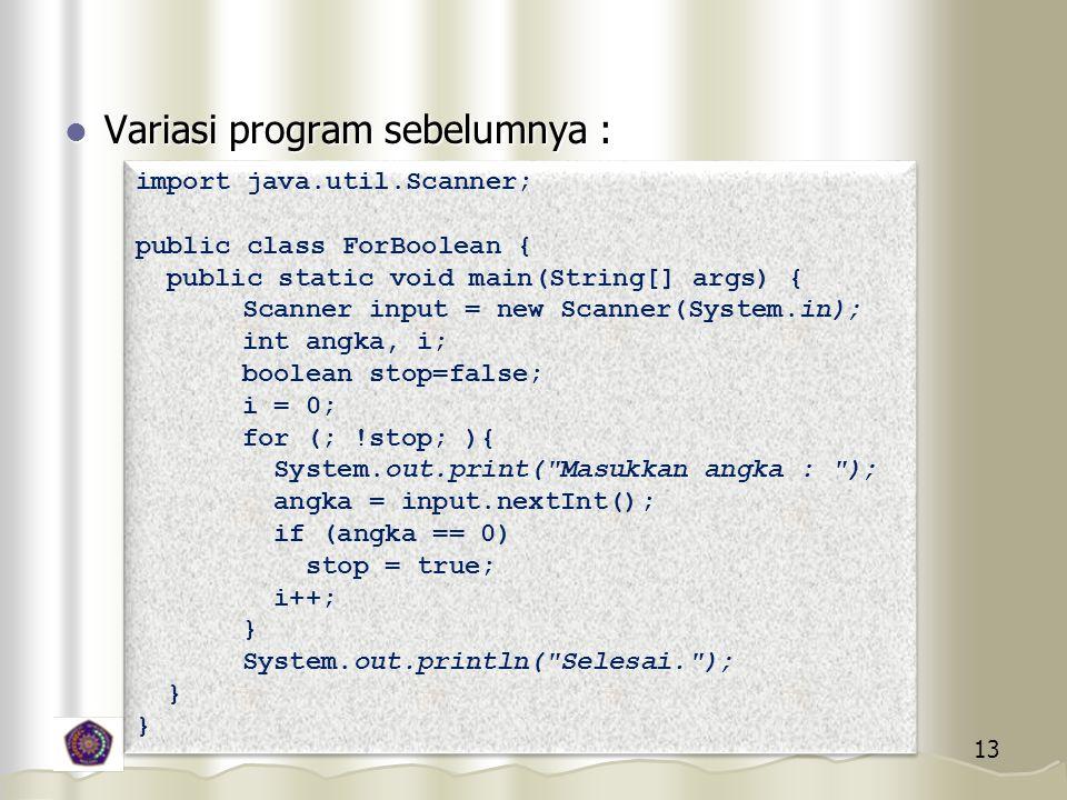 Variasi program sebelumnya :