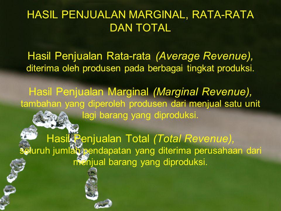 HASIL PENJUALAN MARGINAL, RATA-RATA DAN TOTAL Hasil Penjualan Rata-rata (Average Revenue), diterima oleh produsen pada berbagai tingkat produksi.