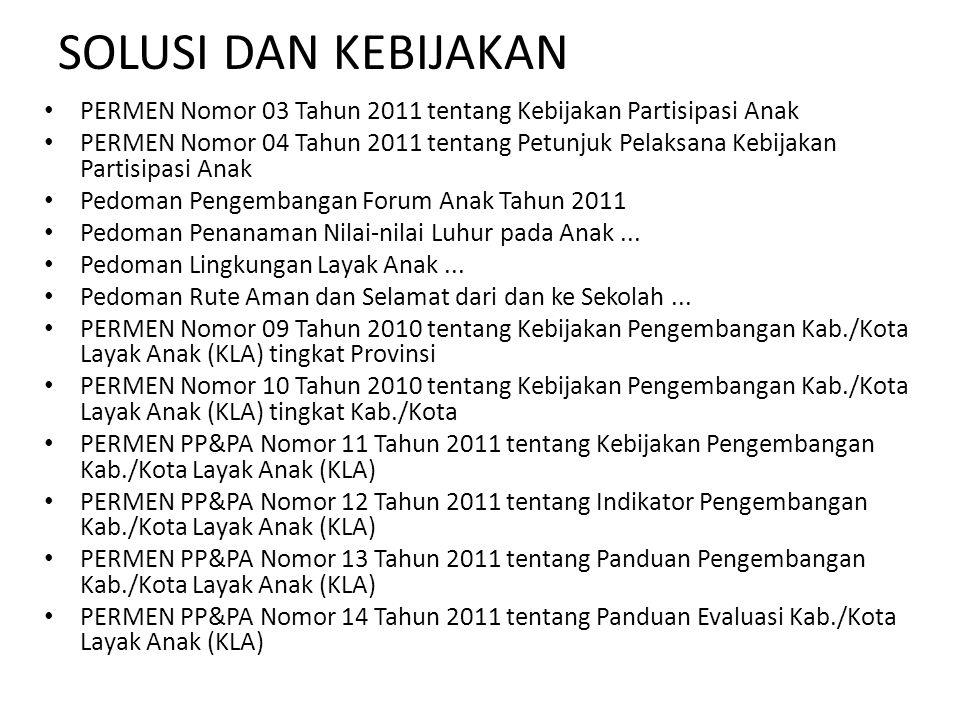 SOLUSI DAN KEBIJAKAN PERMEN Nomor 03 Tahun 2011 tentang Kebijakan Partisipasi Anak.
