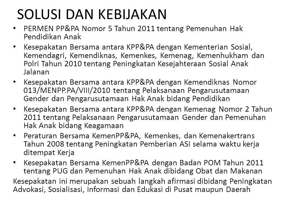 SOLUSI DAN KEBIJAKAN PERMEN PP&PA Nomor 5 Tahun 2011 tentang Pemenuhan Hak Pendidikan Anak.