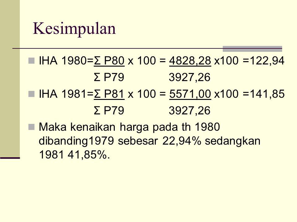 Kesimpulan IHA 1980=Σ P80 x 100 = 4828,28 x100 =122,94 Σ P79 3927,26