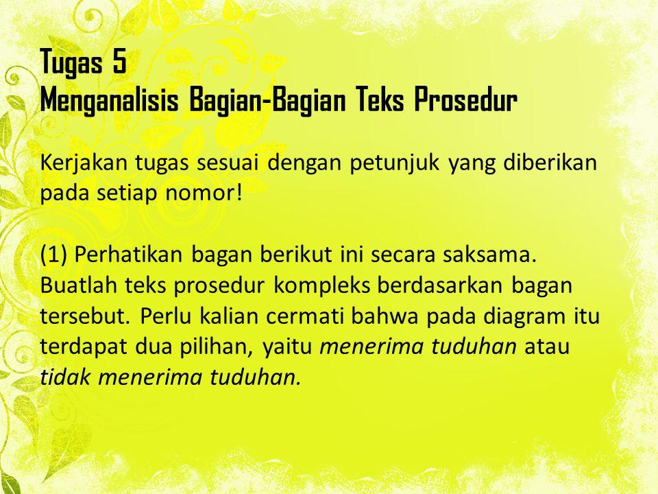 Tugas 5 Menganalisis Bagian-Bagian Teks Prosedur Kerjakan tugas sesuai dengan petunjuk yang diberikan pada setiap nomor.