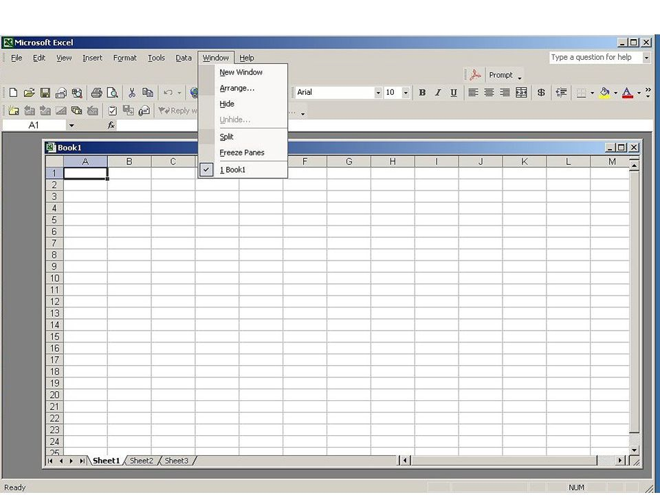 The Window dropdown list allows you to freeze panes both horizontally and vertically which is helpful when you are working on very large spreadsheets.