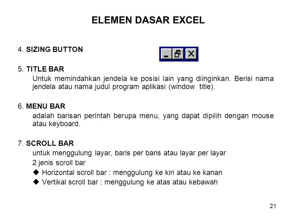 ELEMEN DASAR EXCEL 4. SIZING BUTTON 5. TITLE BAR