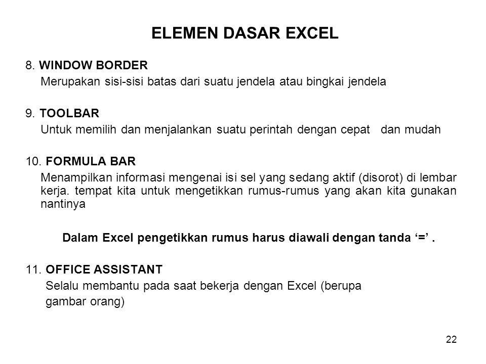Dalam Excel pengetikkan rumus harus diawali dengan tanda '=' .