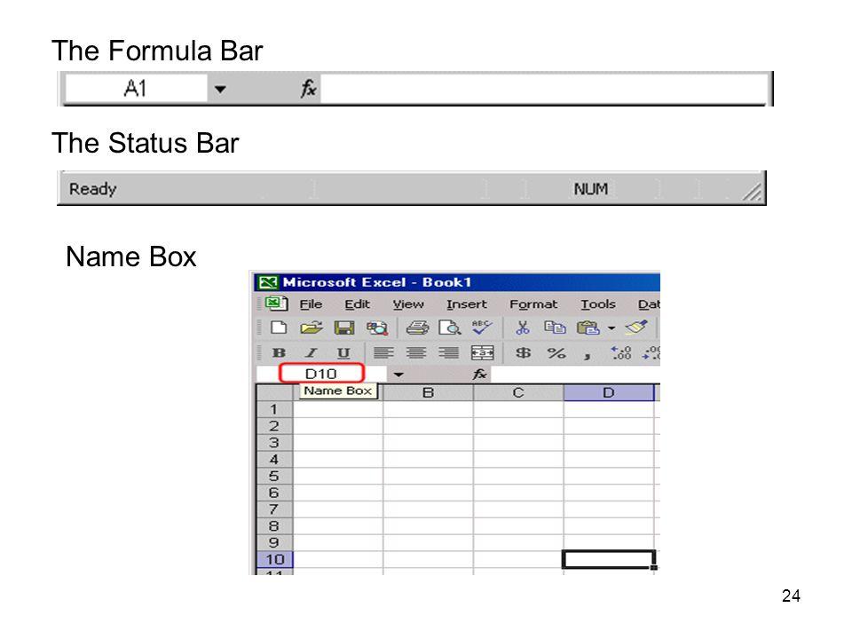 The Formula Bar The Status Bar Name Box