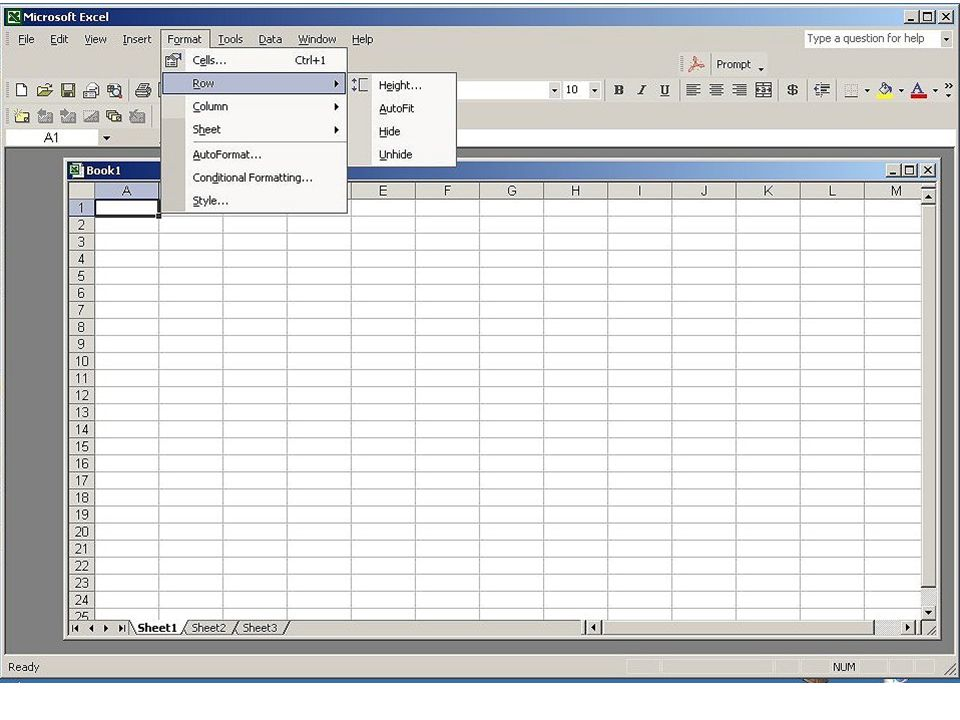 The Format dropdown list allows you to set characteristics of cells, rows, columns and the sheet.
