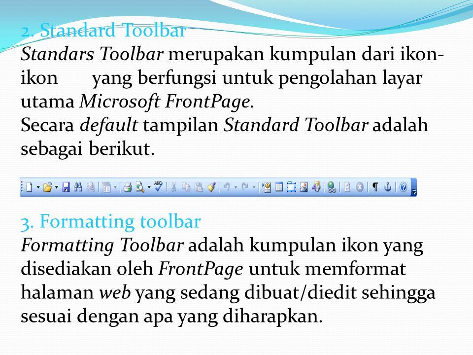 2. Standard Toolbar Standars Toolbar merupakan kumpulan dari ikon-ikon yang berfungsi untuk pengolahan layar utama Microsoft FrontPage.