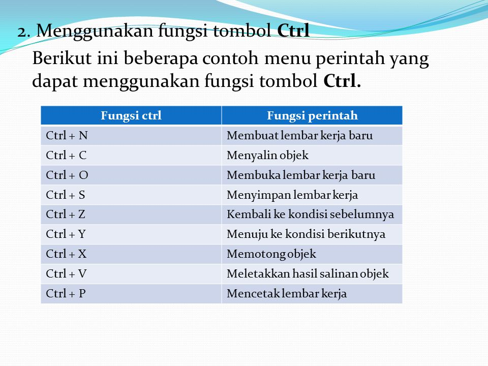 2. Menggunakan fungsi tombol Ctrl