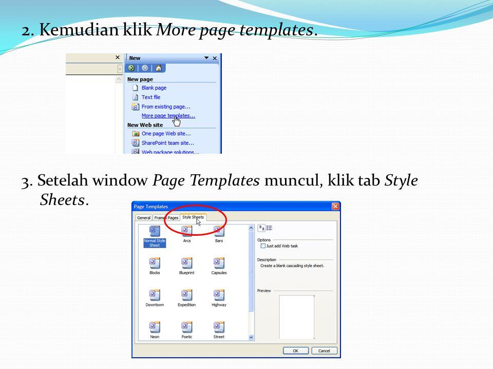 2. Kemudian klik More page templates.