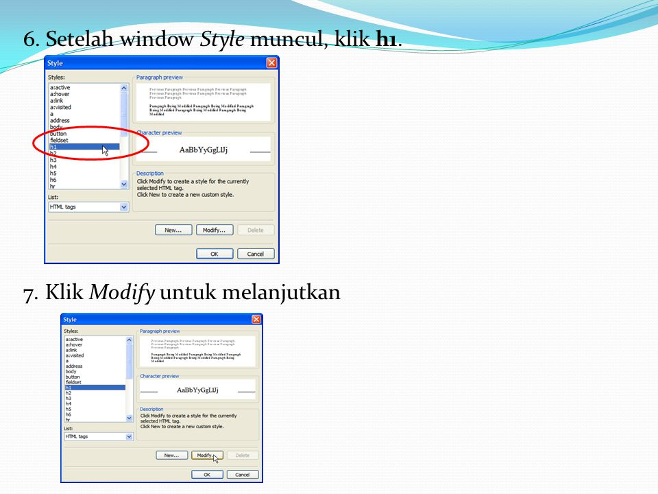 6. Setelah window Style muncul, klik h1. 7