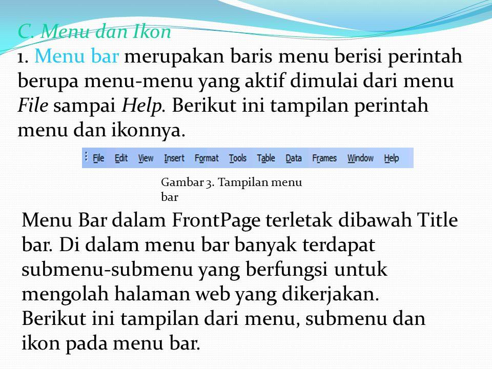 Berikut ini tampilan dari menu, submenu dan ikon pada menu bar.