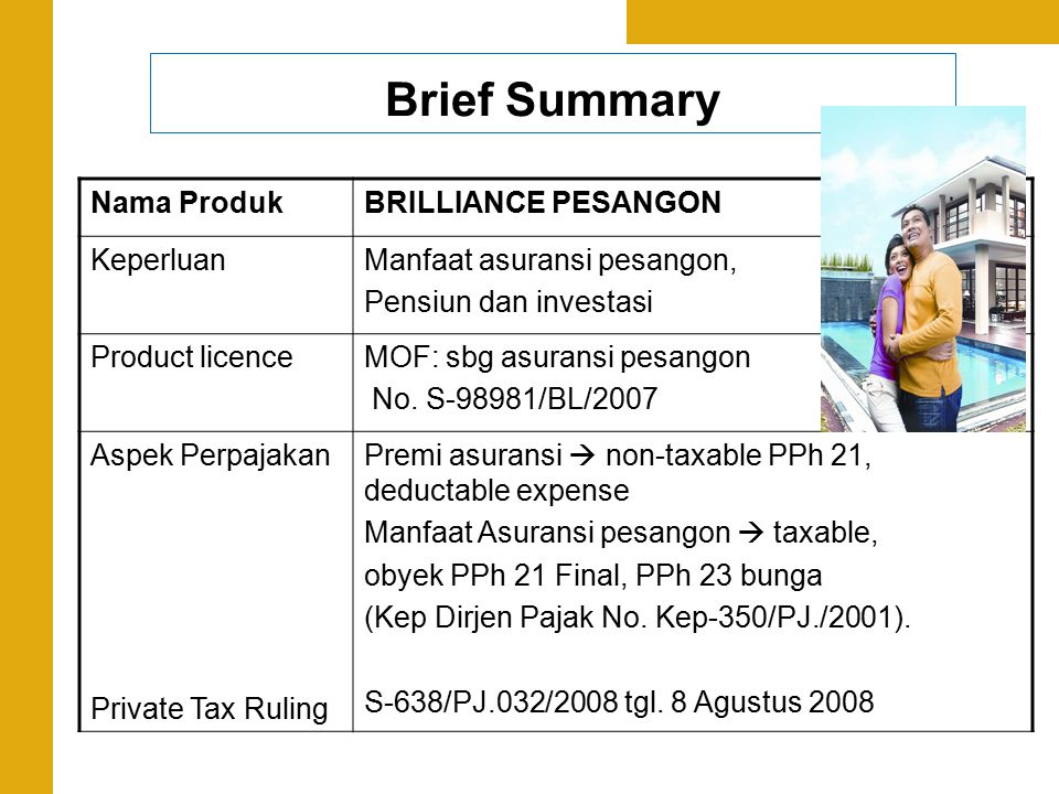 Brief Summary Nama Produk BRILLIANCE PESANGON Keperluan