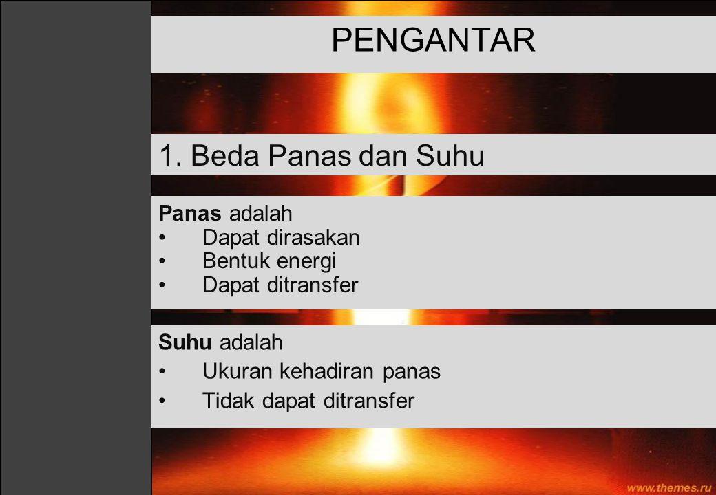 PENGANTAR 1. Beda Panas dan Suhu Panas adalah Dapat dirasakan