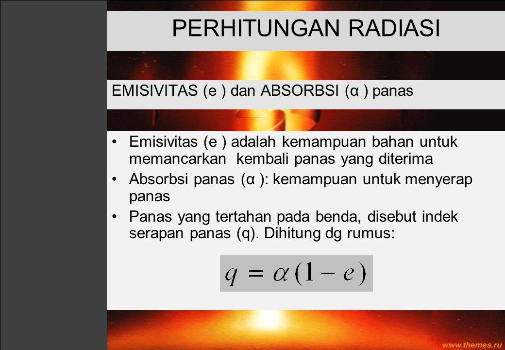 PERHITUNGAN RADIASI EMISIVITAS (e ) dan ABSORBSI (α ) panas