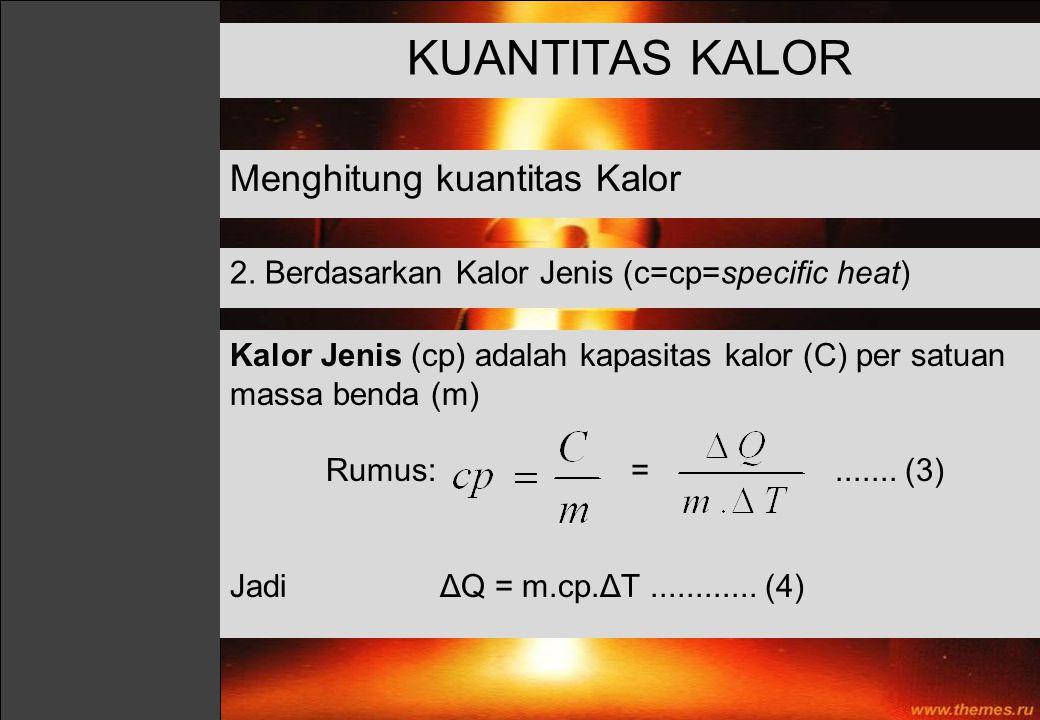 KUANTITAS KALOR Menghitung kuantitas Kalor