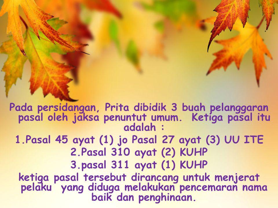 Pasal 45 ayat (1) jo Pasal 27 ayat (3) UU ITE
