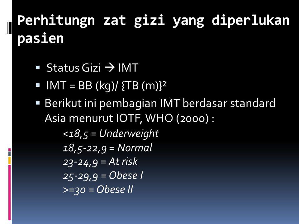 Perhitungn zat gizi yang diperlukan pasien