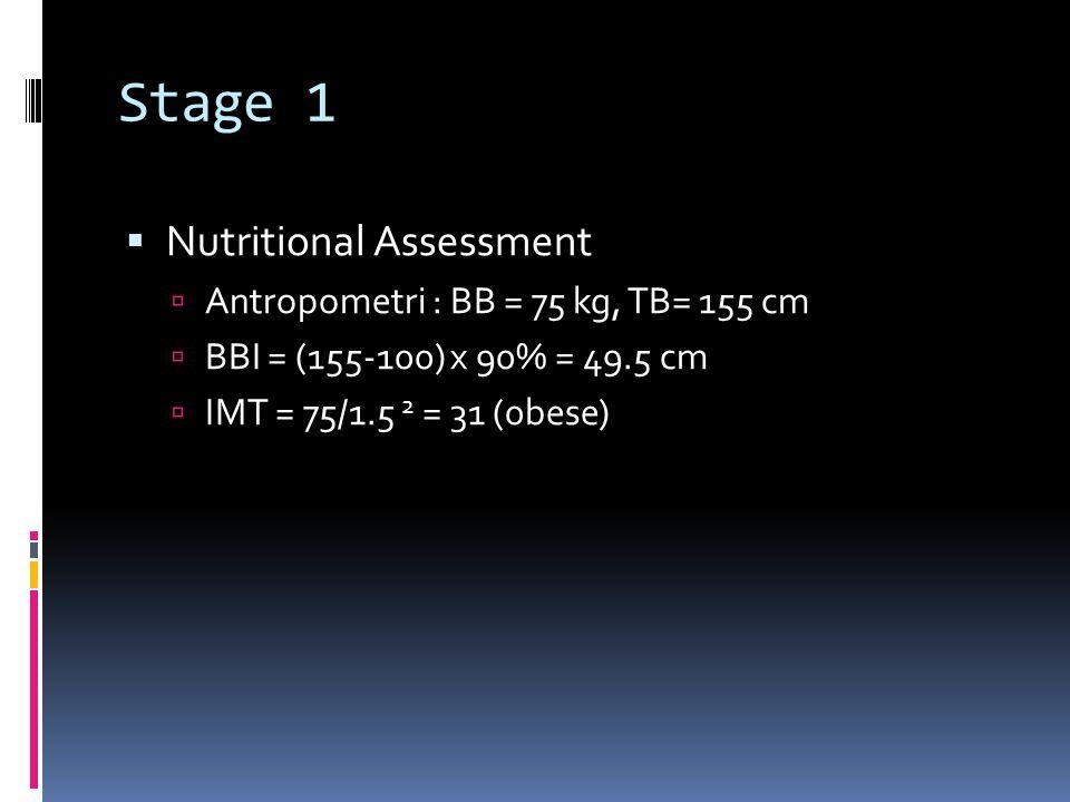 Stage 1 Nutritional Assessment Antropometri : BB = 75 kg, TB= 155 cm