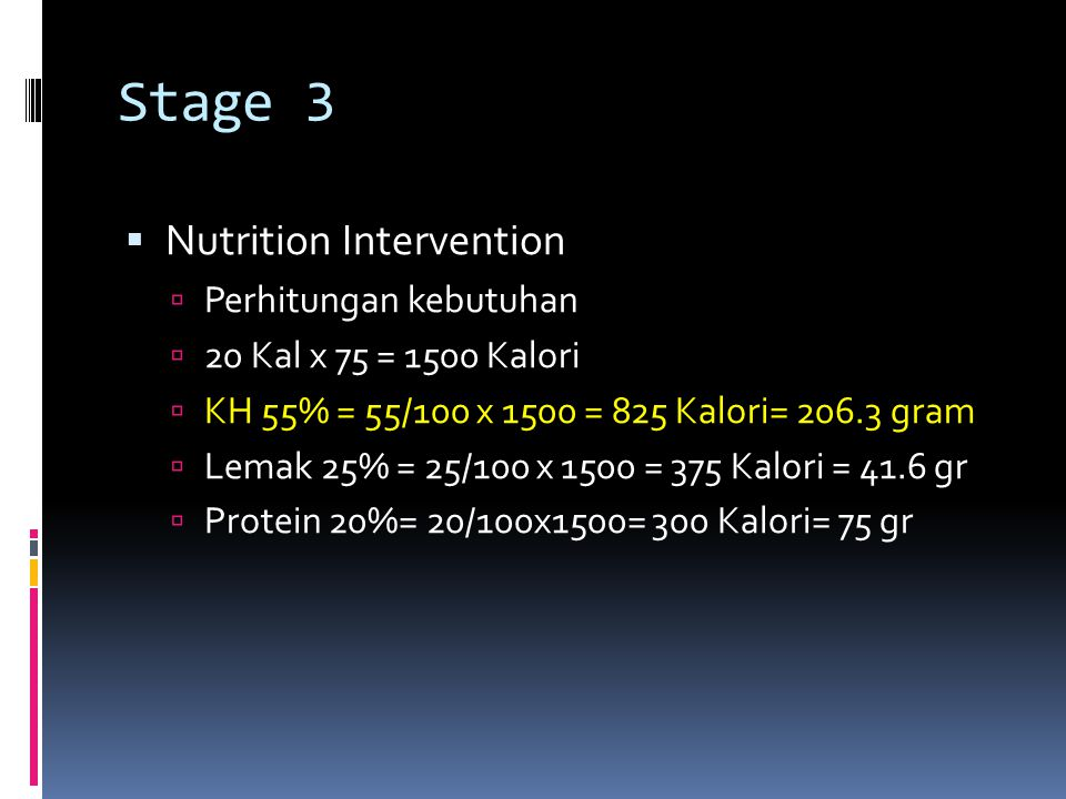 Stage 3 Nutrition Intervention Perhitungan kebutuhan