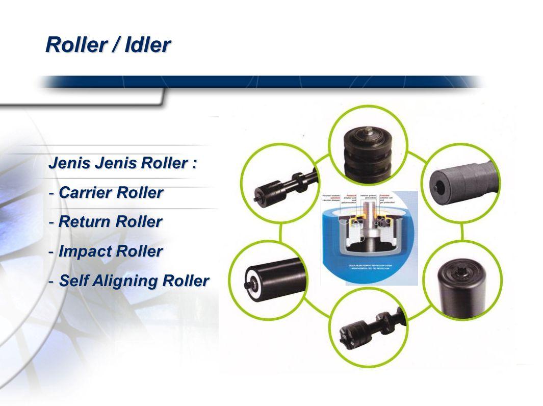 Roller / Idler Jenis Jenis Roller : - Carrier Roller - Return Roller