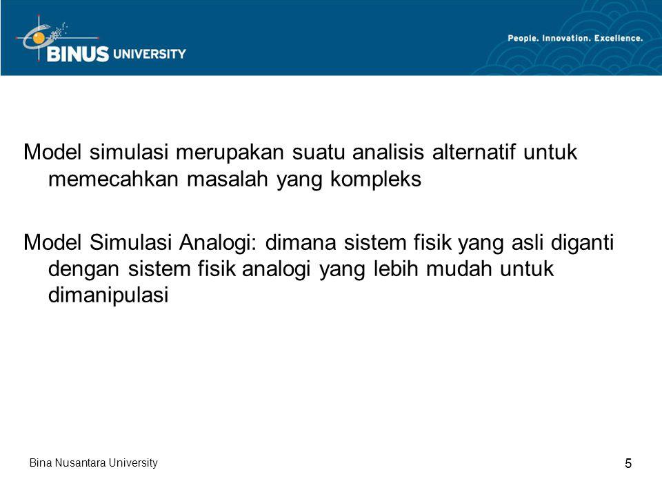 Model simulasi merupakan suatu analisis alternatif untuk memecahkan masalah yang kompleks