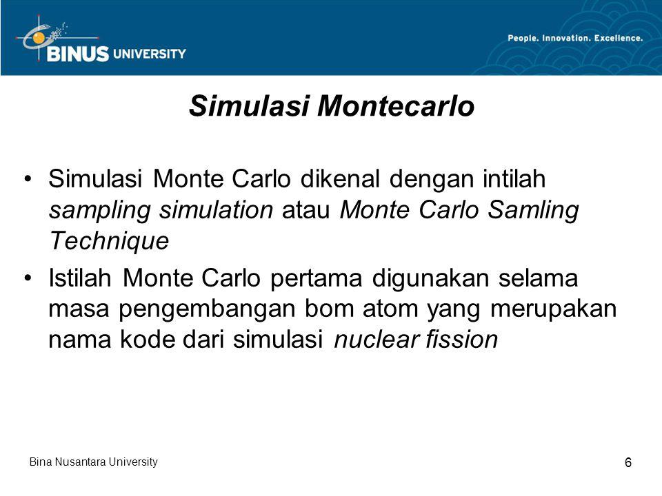 Simulasi Montecarlo Simulasi Monte Carlo dikenal dengan intilah sampling simulation atau Monte Carlo Samling Technique.