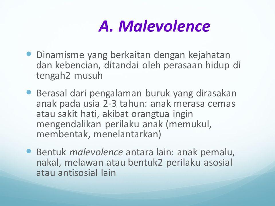 A. Malevolence Dinamisme yang berkaitan dengan kejahatan dan kebencian, ditandai oleh perasaan hidup di tengah2 musuh.