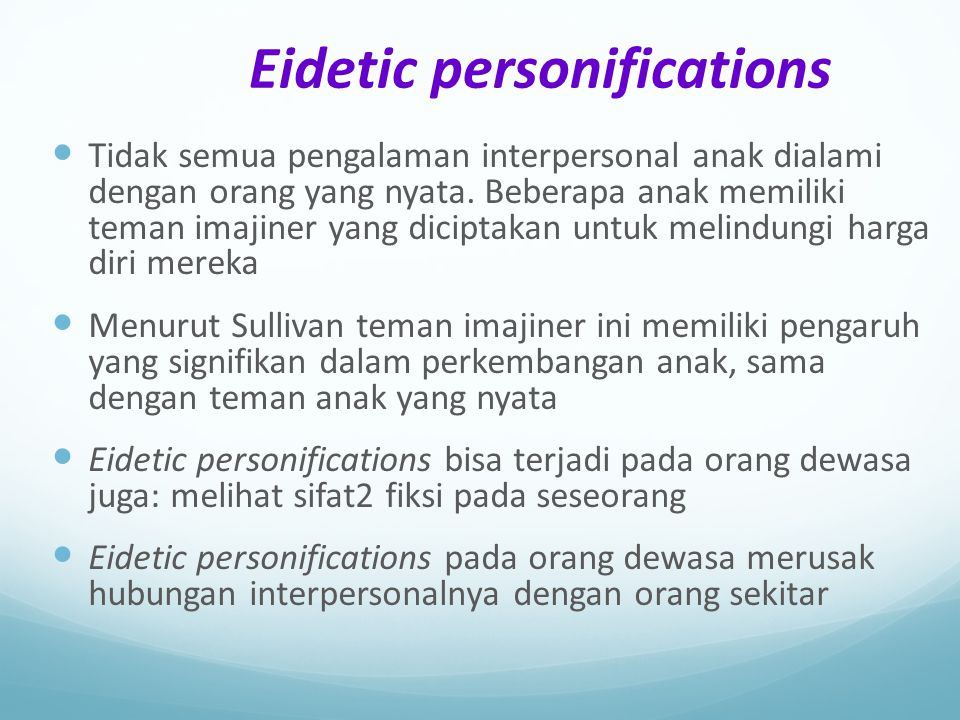 Eidetic personifications
