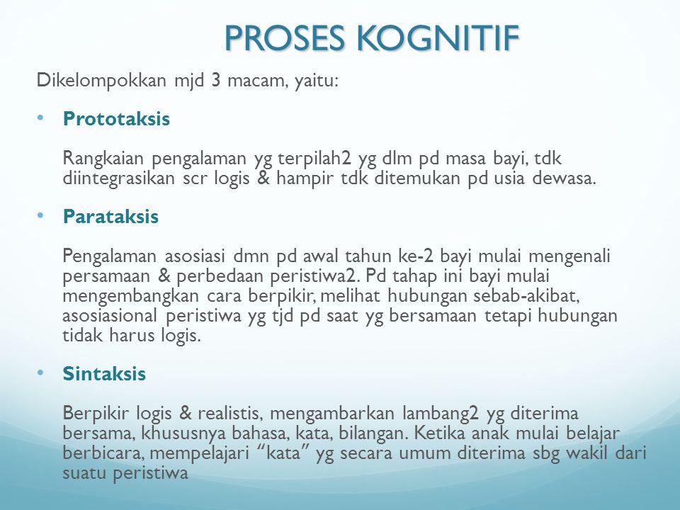 PROSES KOGNITIF Dikelompokkan mjd 3 macam, yaitu: Prototaksis