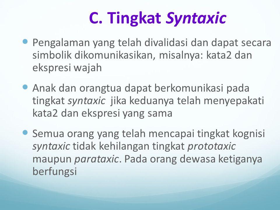 C. Tingkat Syntaxic Pengalaman yang telah divalidasi dan dapat secara simbolik dikomunikasikan, misalnya: kata2 dan ekspresi wajah.