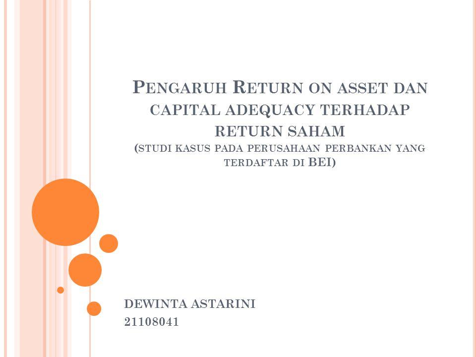 Pengaruh Return on asset dan capital adequacy terhadap return saham (studi kasus pada perusahaan perbankan yang terdaftar di BEI)