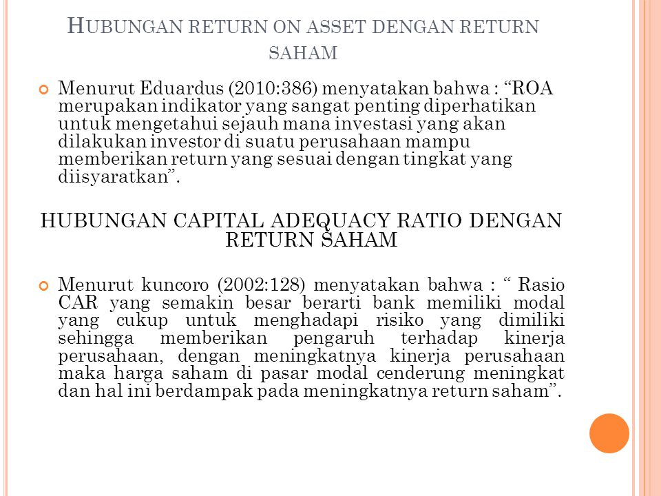 Hubungan return on asset dengan return saham