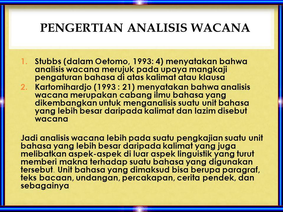 PENGERTIAN analisis WACANA