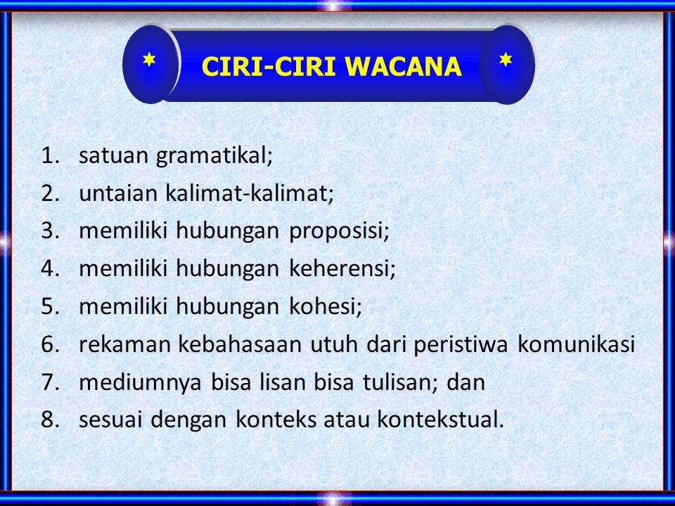* * CIRI-CIRI WACANA satuan gramatikal; untaian kalimat-kalimat;