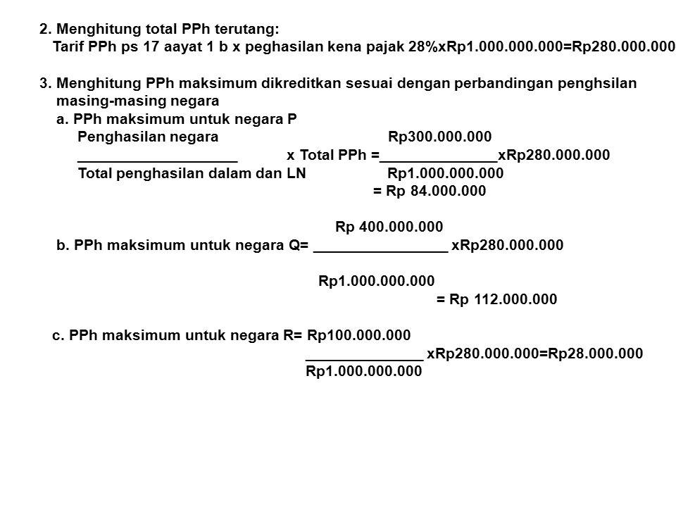 2. Menghitung total PPh terutang: